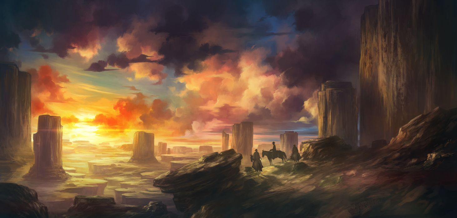 Painting art clouds Cowboy cowboys horses mountain painting riding sky stone stone mountain sunset sunshine view Zone wallpaper
