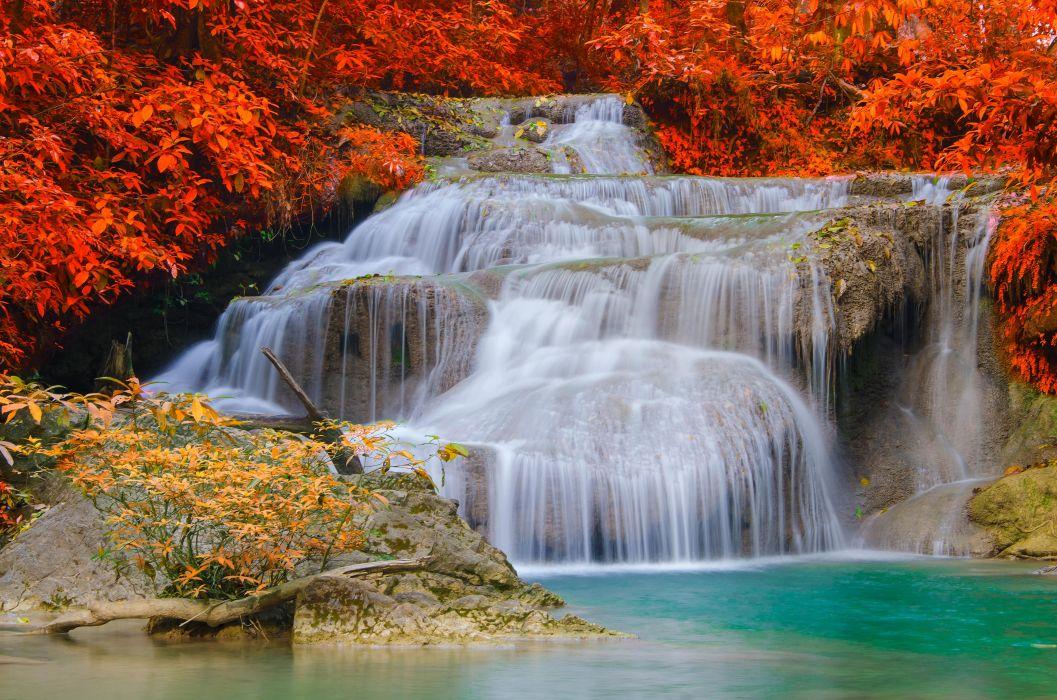 Season Autumn Waterfalls Nature  wallpaper