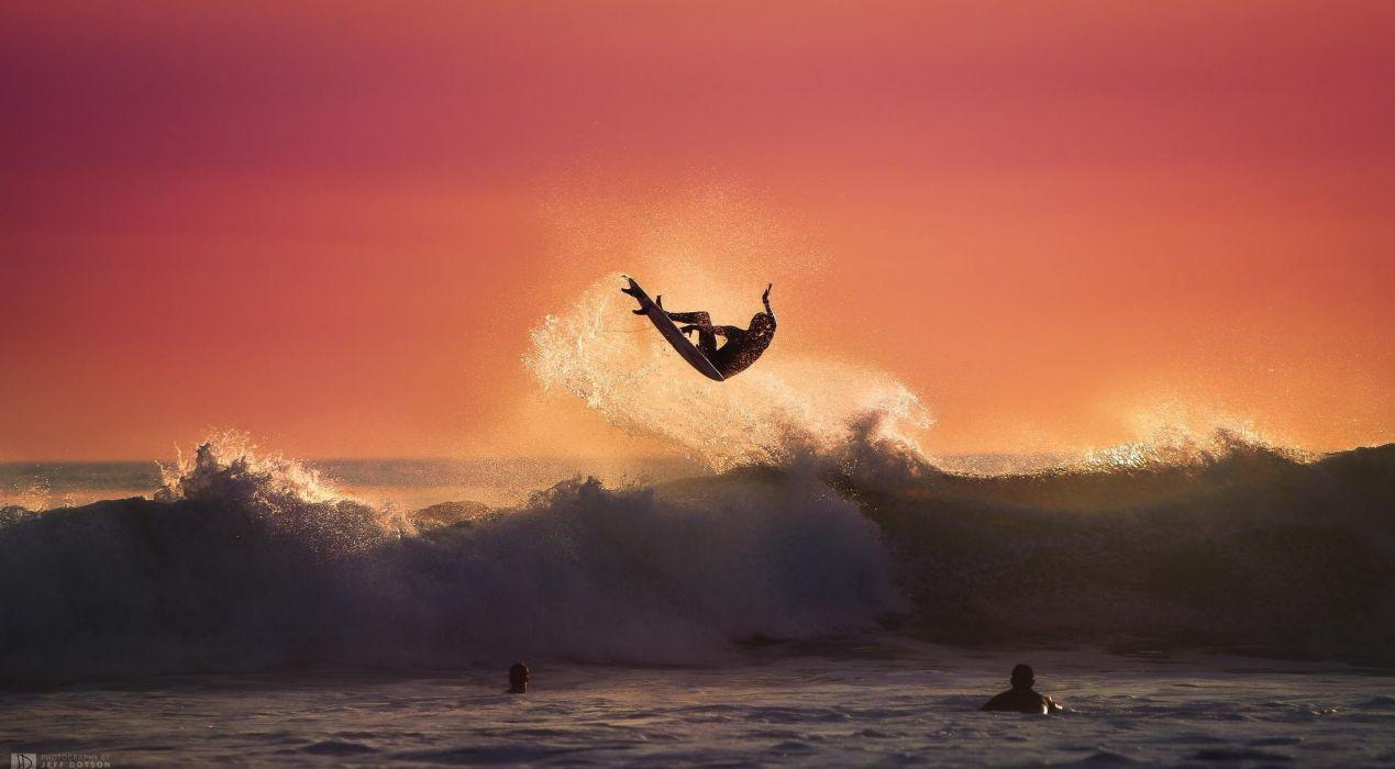 Art Desktop Sea Sport Summer Sunset Surfing Waves Wallpaper