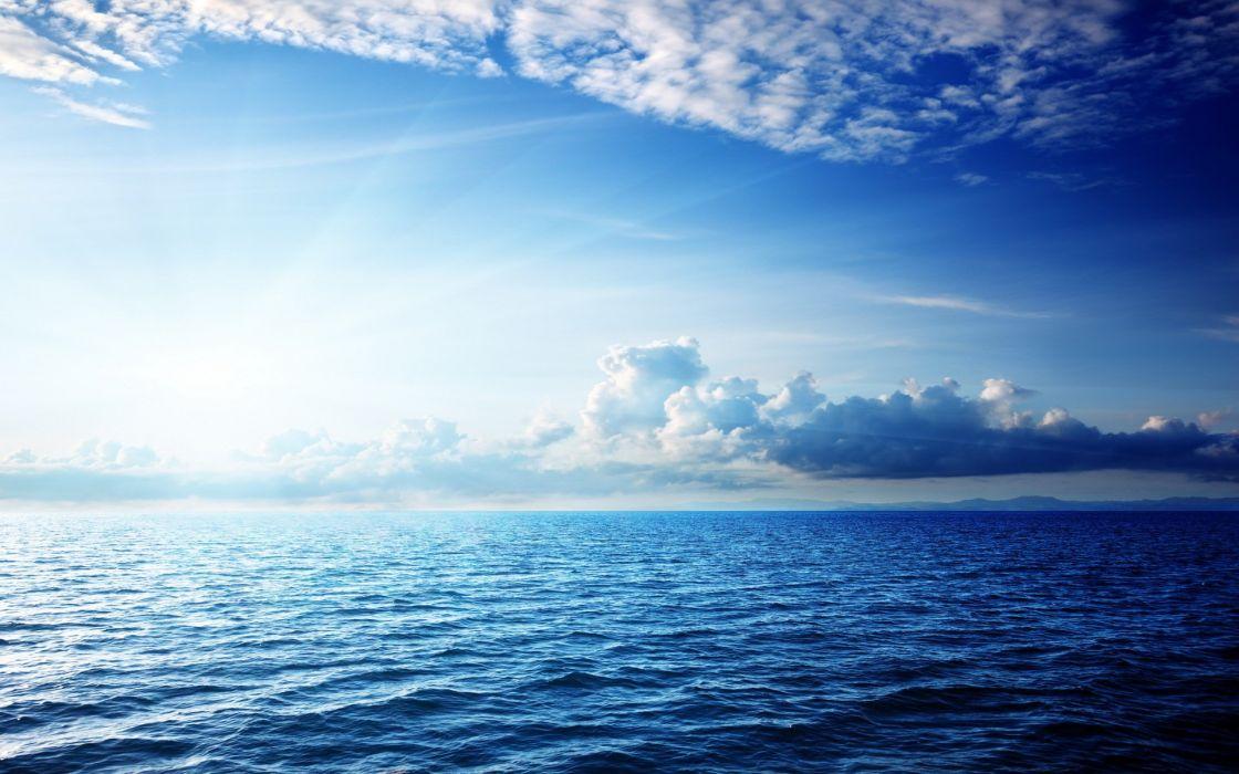 beautiful blue sky hd landscape sea sunshine wallpaper waves wallpaper