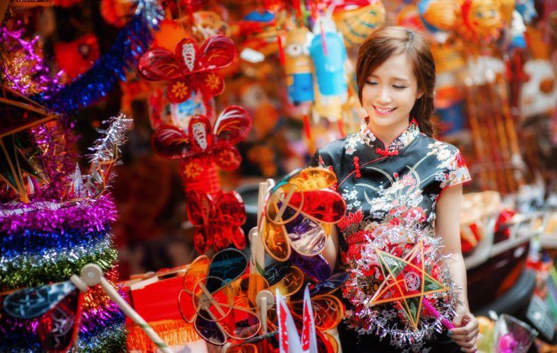 beauty decoration girl Hang Ma Hanoi's Hang Ma lantern Mid-Autumn Festival paper lanterns red smile street wallpaper