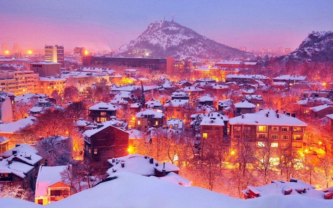 Bulgaria city city lights houses landsacpe mountain night lights orange Plovdiv snow snowflakes winter wallpaper