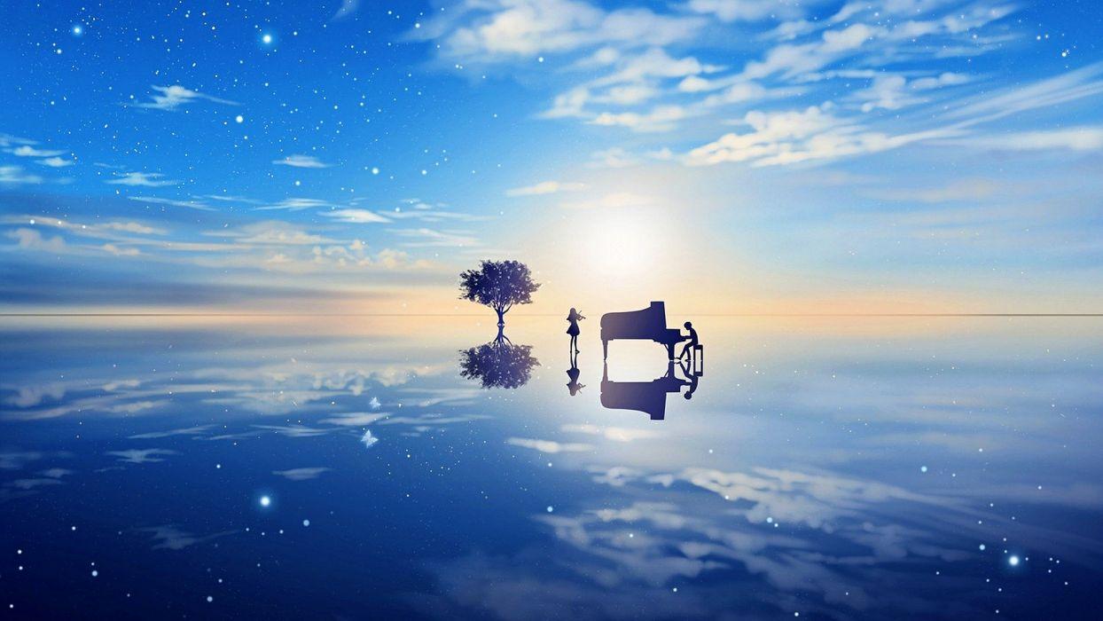 anime couple sky beauty blue tree piano violin clouds  wallpaper