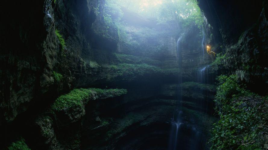 waterfall nature beauty canyon wallpaper