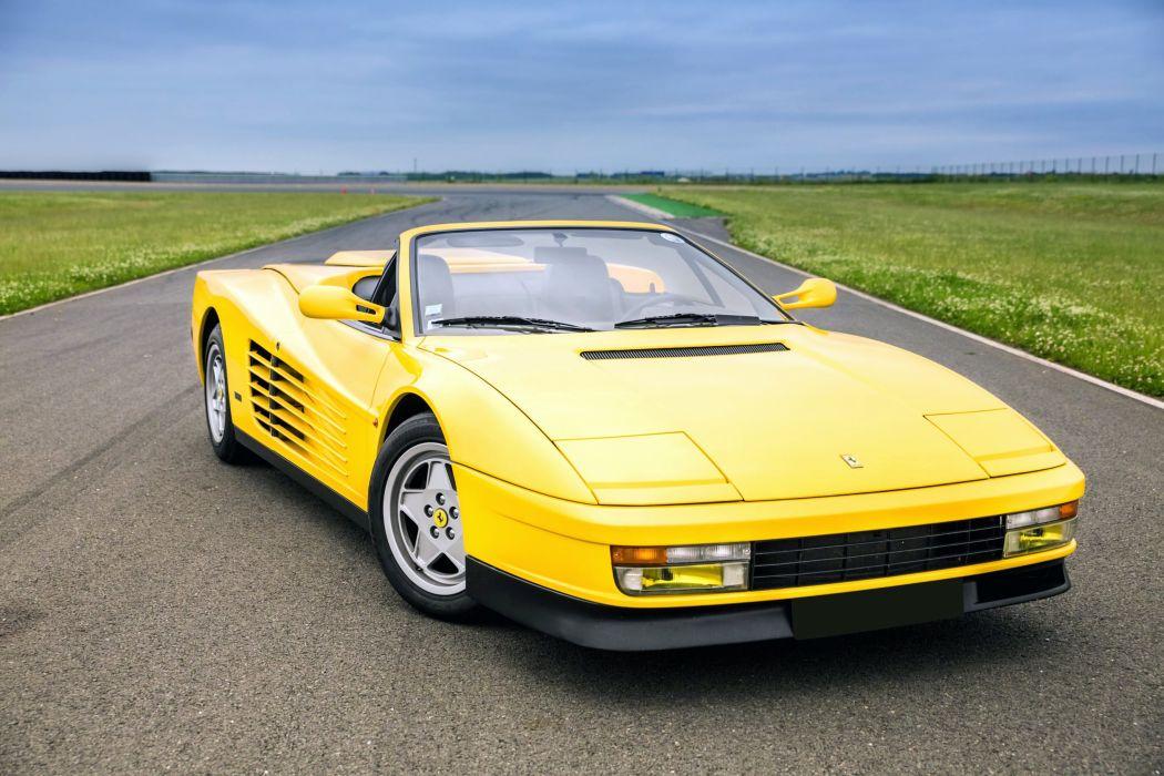 Ferrari Testarossa Spider cars yellow 1988 wallpaper