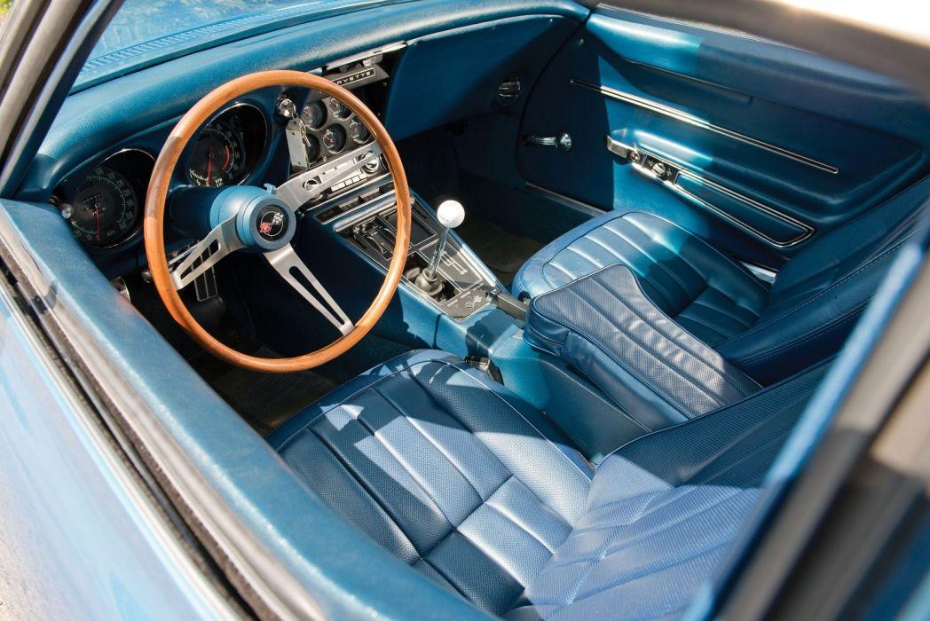 1968 Chevrolet Corvette L71 (c3) cars blue interior wallpaper
