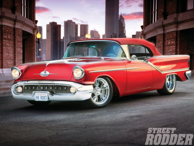 1957 Oldsmobile Starfire-98 cars red convertible wallpaper