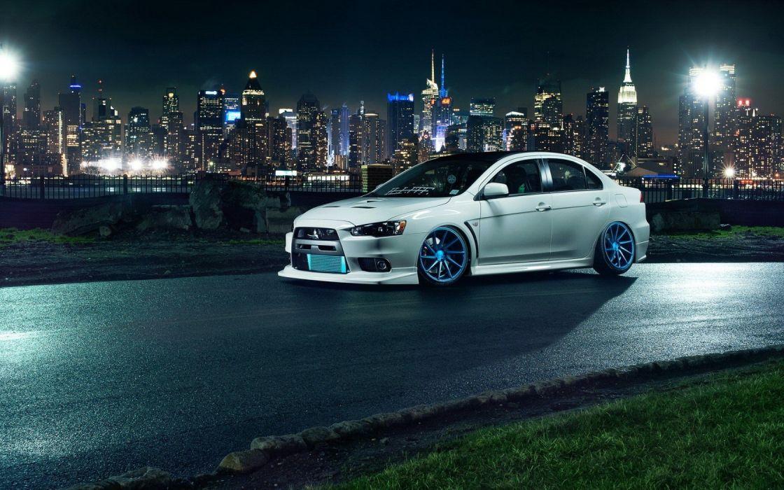 city night fence lights mitsubishi lancer evo x New York road wallpaper white car wallpaper