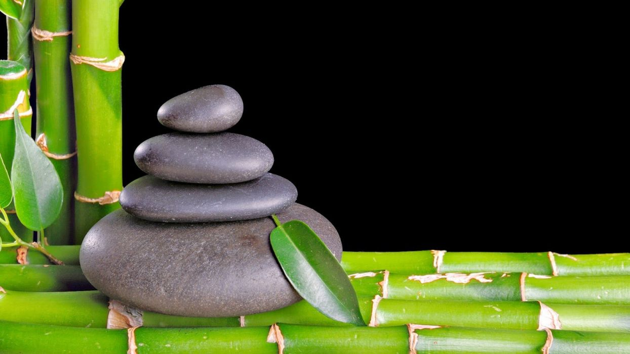 Zen Bamboo Leaf With Black Stone Wallpapers Wallpaper