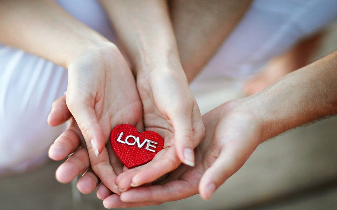Boy couple girl hands hold holding i love you love photo red heart ...
