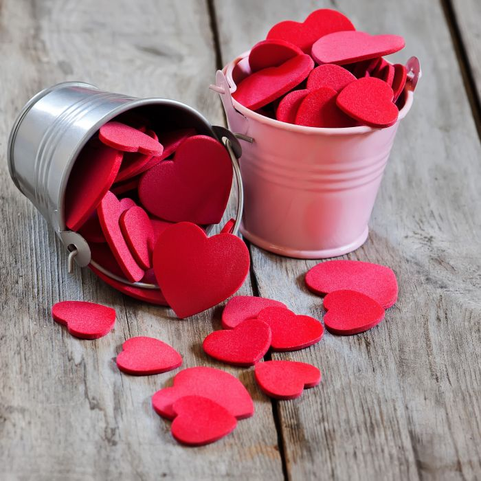 buckets couples decorations floor holidays love pink Pink Buckets red hearts Red Sponge Heart romantic special sponge hearts Valentine's Day wood wooden floor wallpaper