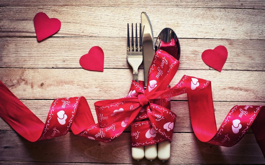 food fork heart hearts holidays knife red ribbon romance spoon Valentine wooden table wallpaper