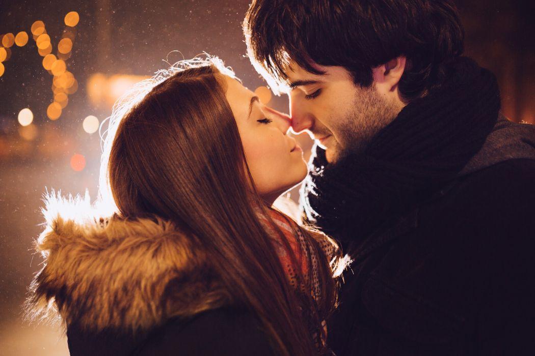 boy Christmas christmas lights couple fur girl happy kiss kissing lights love scarf street winter wallpaper