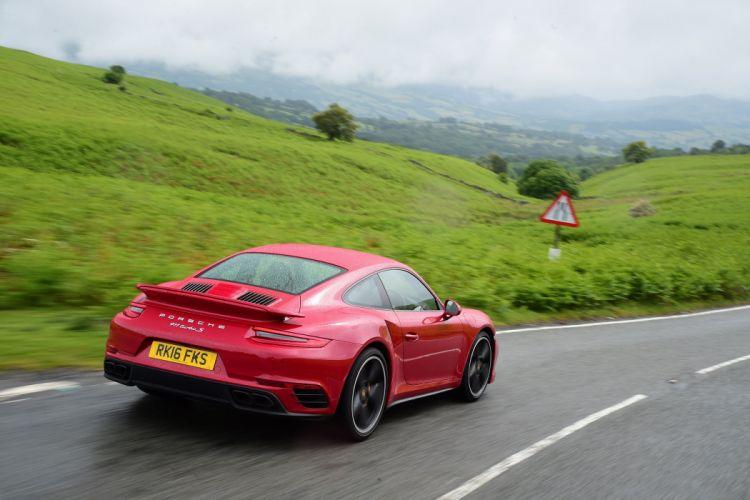 Porsche 911 Turbo S Coupe UK-spec (991) cars red 2016 wallpaper