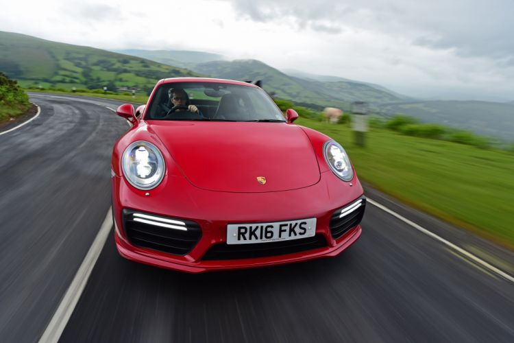Porsche 911 Turbo S Coupe UK-spec (991) cars red 2016 wallpaper