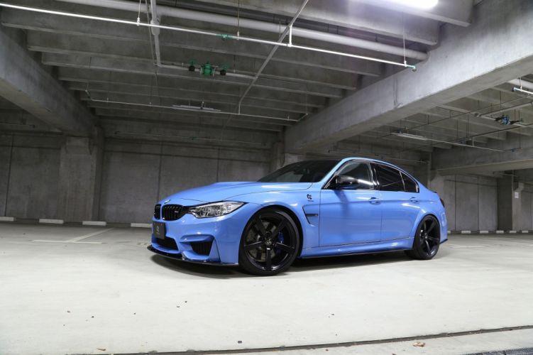 3D Design BMW M3 (F80) cars sedan blue modified 2014 wallpaper