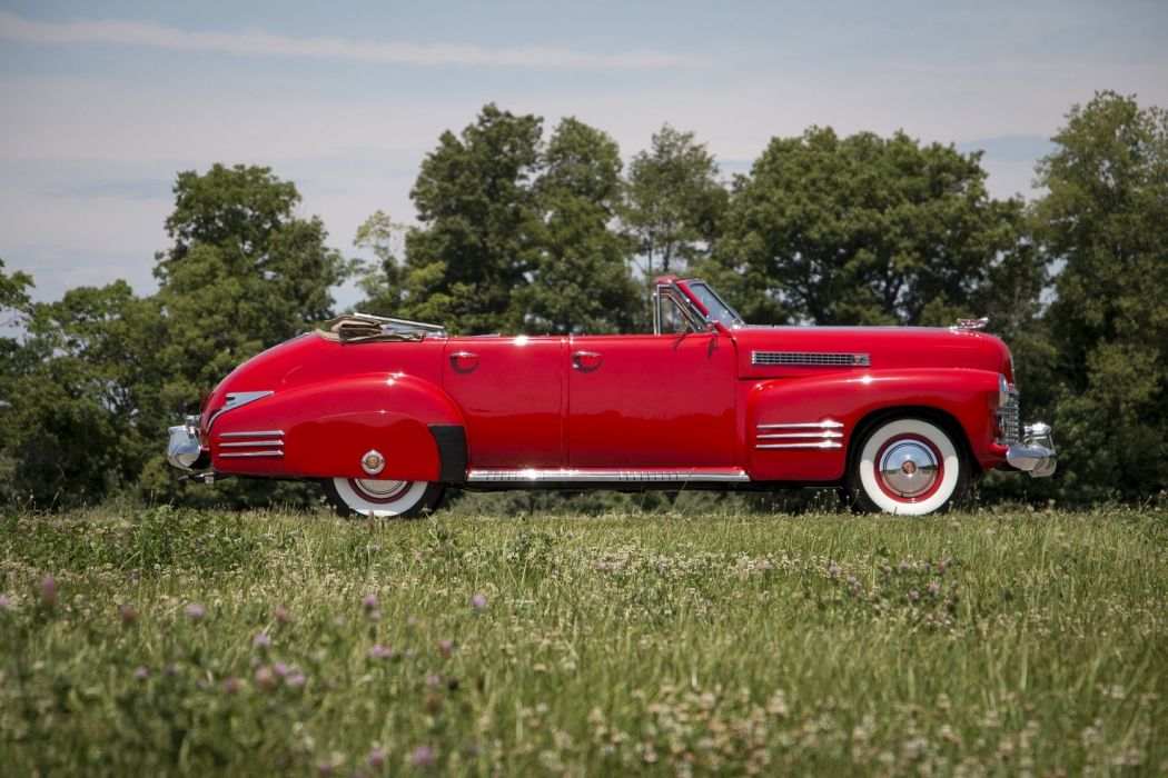 1941 Cadillac Sixty-Two Convertible Sedan Deluxe cars classic red wallpaper