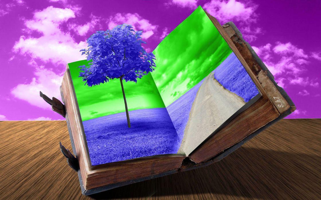 cg digital art 3d books dream imagination nature landscapes sky fclouds mood best wallpaper by s h7 1920x1200 wallpaper