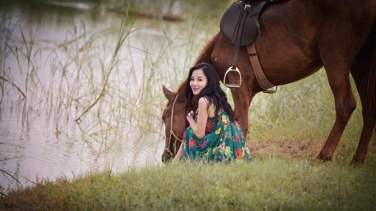 Horse Asian Grass Girls Animals wallpaper