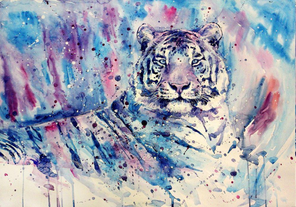 Big cats Tiger Painting Art Animals wallpaper