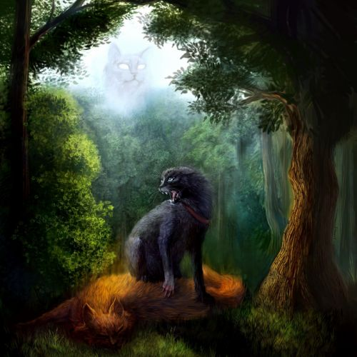 Cats Painting Art Trees Animals wallpapers wallpaper