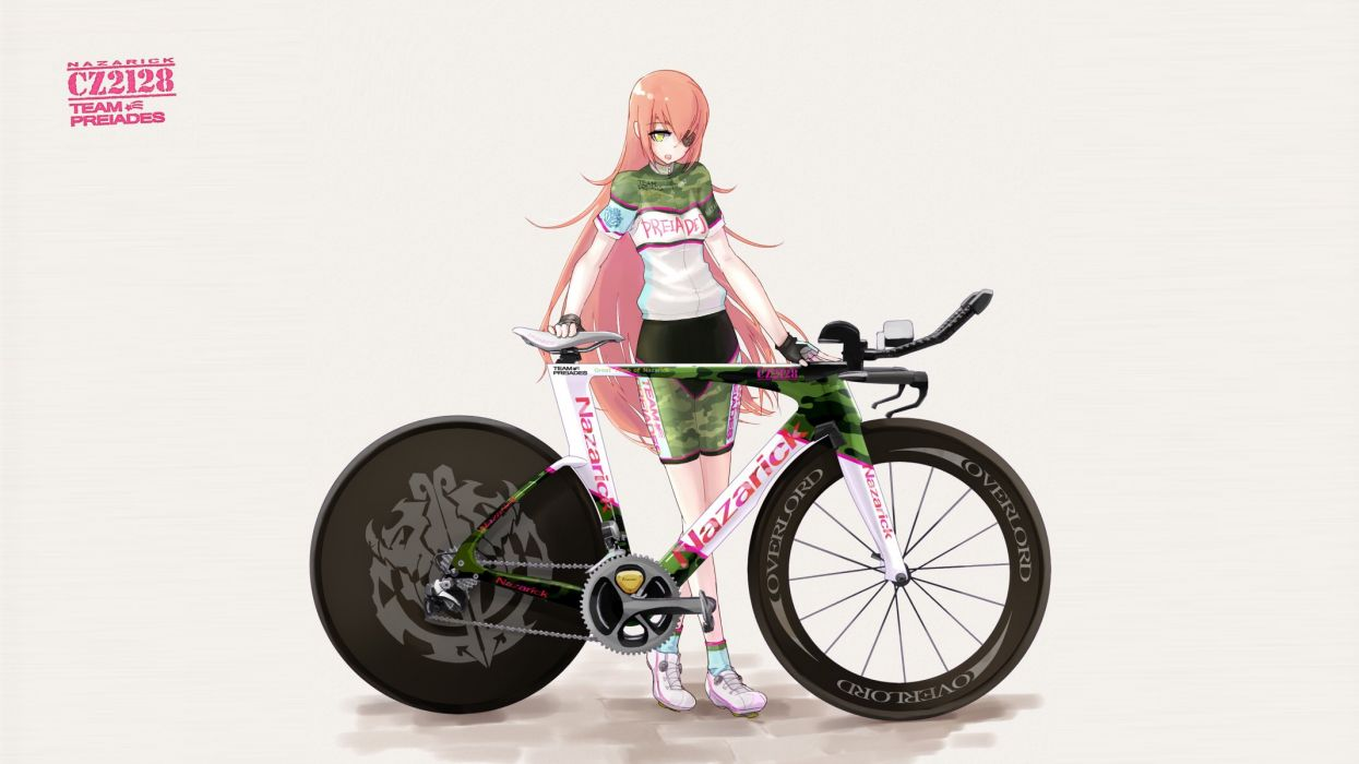 bicycle bike shorts cz2128 delta eyepatch overlord pink hair shorts tamagona yellow eyes wallpaper