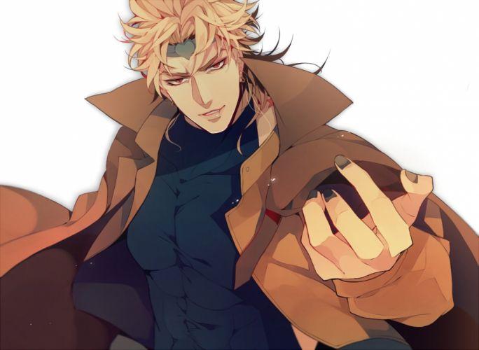 male blonde hair dio brando fang headband jojo no kimyou na bouken male red eyes tagme (artist) waifu2x wallpaper