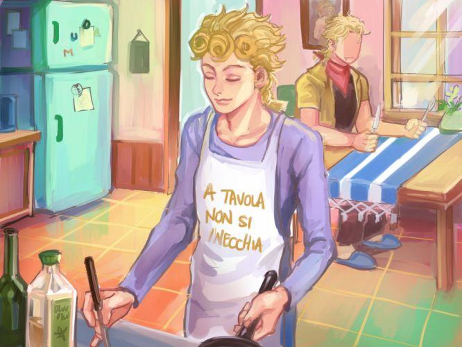 male apron blonde hair dio brando fang giorno giovanna jojo no kimyou na bouken male tagme (artist) translation request wallpaper