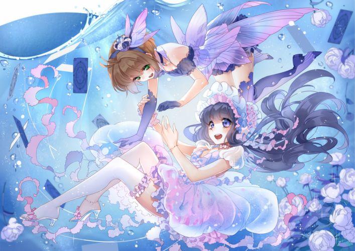 girls card captor sakura daidouji tomoyo dress kinomoto sakura see through sptuel thighhighs wallpaper