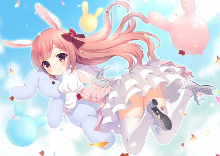animal ears blush bow bunny bunny ears dress loli long hair original pink eyes pink hair stockings suzu (kosakabe) thighhighs waifu2x wallpaper