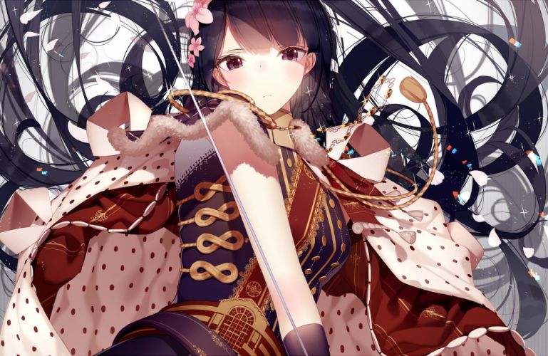 atha black eyes black hair blush flowers long hair original sword weapon wallpaper