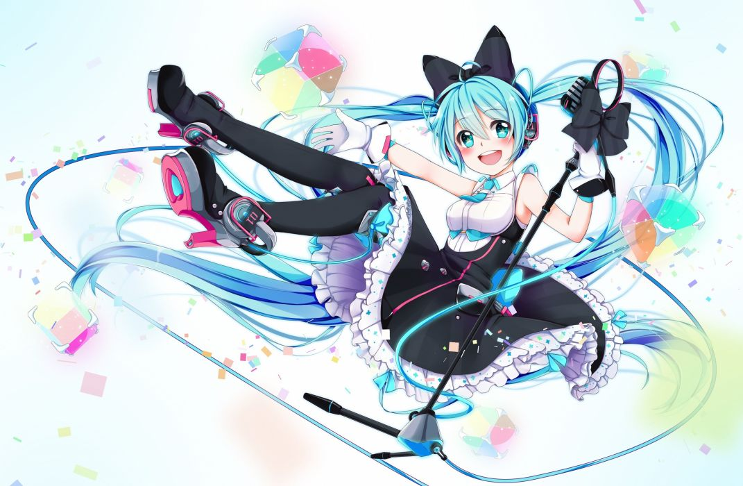 hatsune miku long hair magical mirai (vocaloid) rinrin twintails vocaloid wallpaper