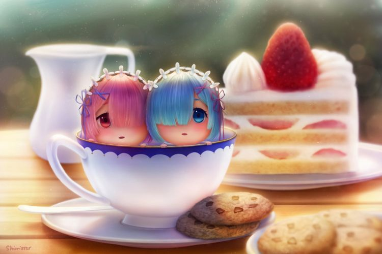 aqua eyes aqua hair cake chibi dej (shiori2525) food fruit headdress pink hair ram (re-zero) red eyes rem (re-zero) short hair signed strawberry twins wallpaper
