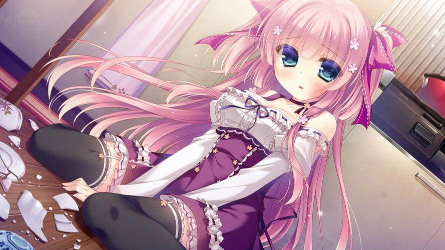 blue eyes blush cabbit game cg garter belt hakoniwa logic iriya koko long hair pink hair stockings thighhighs yukie wallpaper