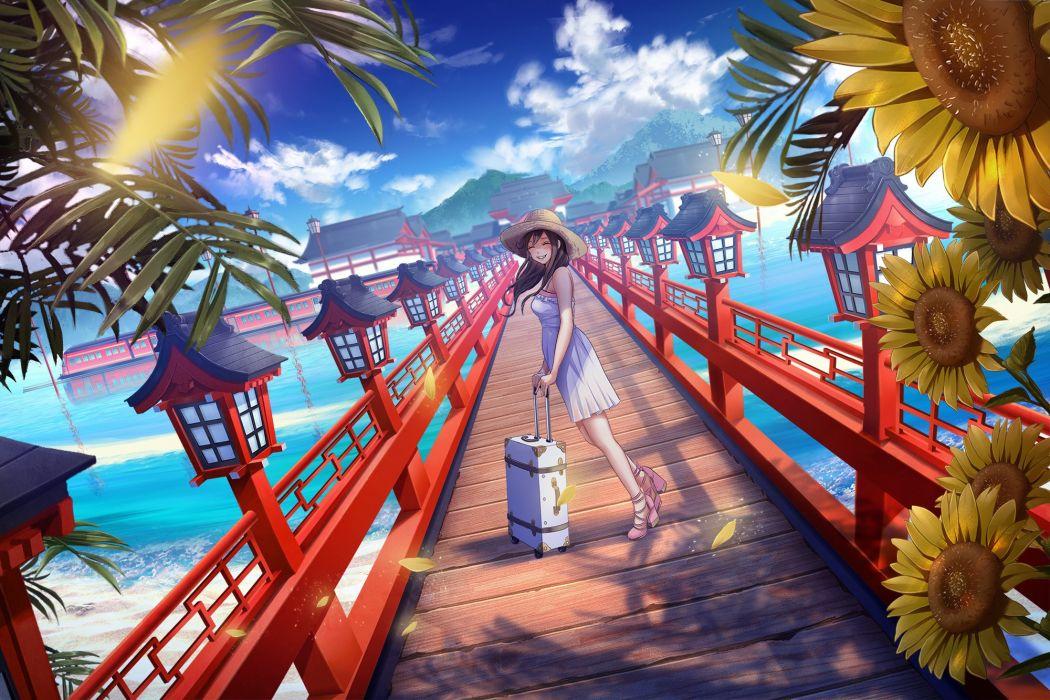beach brown hair building clouds dress flowers hat long hair original scenic sho (shoichi-kokubun) sky summer dress sunflower water wallpaper