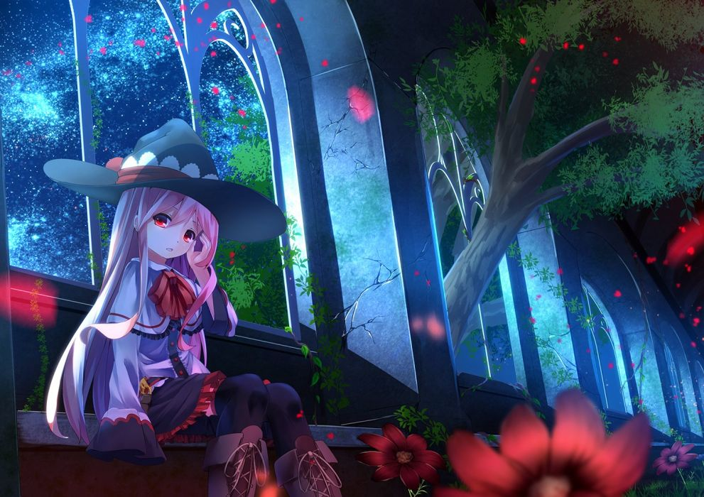 boots flowers hat kagayan1096 long hair night original pink hair red eyes skirt sky stars thighhighs tree witch hat wallpaper