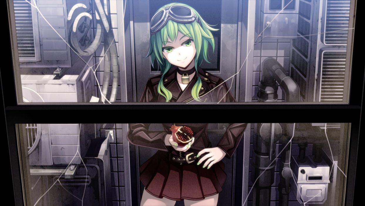 choker food green eyes green hair gumi long hair skirt thighhighs torigoe takumi vocaloid waifu2x wallpaper