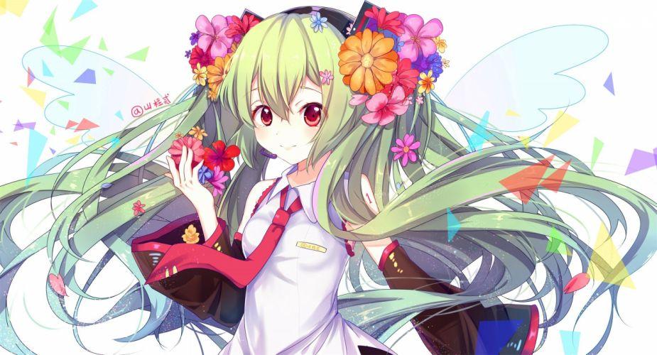 flowers gejigejier green hair hatsune miku long hair red eyes signed twintails vocaloid wallpaper