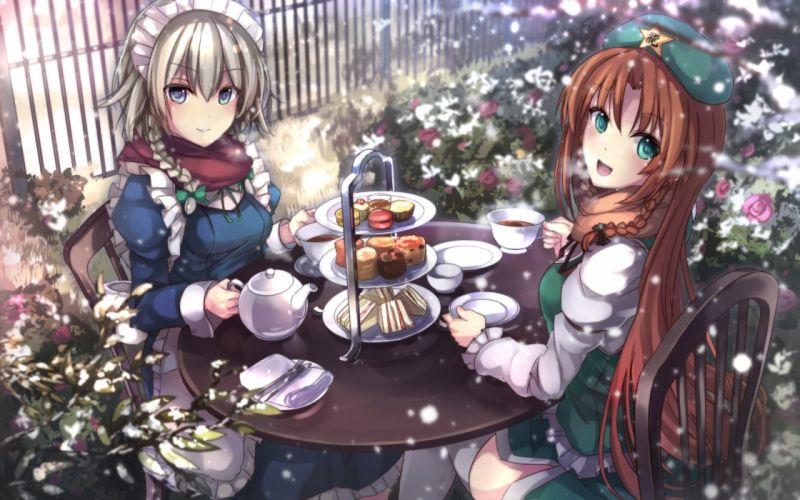 girls drink hong meiling izayoi sakuya maid snow touhou zyanna wallpaper