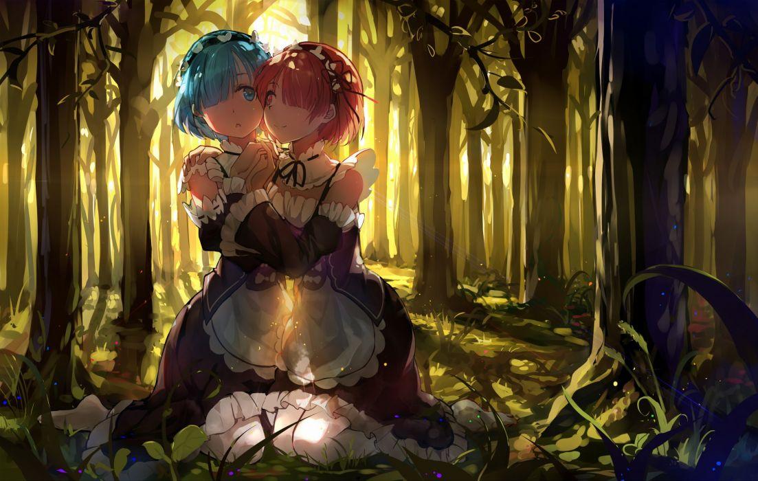 girls blue hair forest haraguroi you maid pantyhose pink hair ram (re-zero) rem (re-zero) re-zero kara hajimeru isekai seikatsu shoujo ai tree twins wallpaper