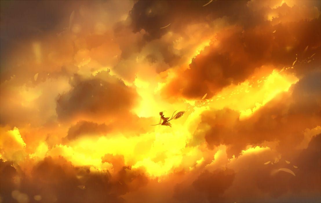 1 bou nin clouds original sky sunset waifu2x witch wallpaper