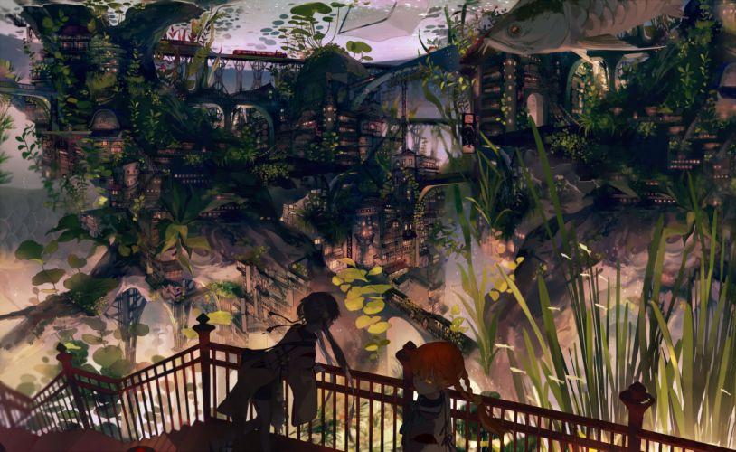 girls aliasing animal braids building city dark fish gray hair kukka orange hair original stairs train twintails underwater water yellow eyes wallpaper