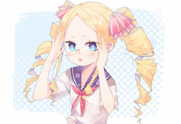 aotetsu (963421) aqua eyes beatrice (re-zero) blonde hair blush bow glasses loli re-zero kara hajimeru isekai seikatsu seifuku signed wallpaper