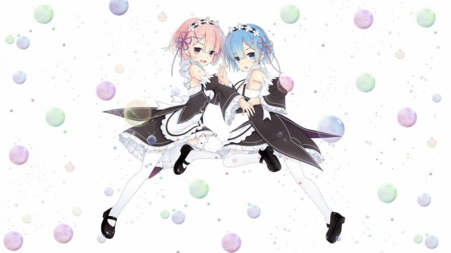 aqua eyes aqua hair gwon headdress maid pink hair ram (re-zero) rem (re-zero) re-zero kara hajimeru isekai seikatsu short hair twins wallpaper