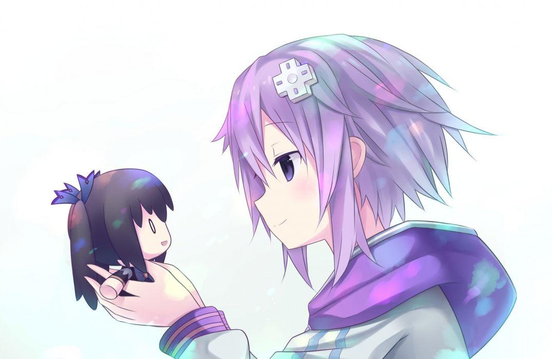 black hair doll hoodie hyperdimension neptunia neptune noire purple eyes purple hair short hair tagme (artist) white wallpaper