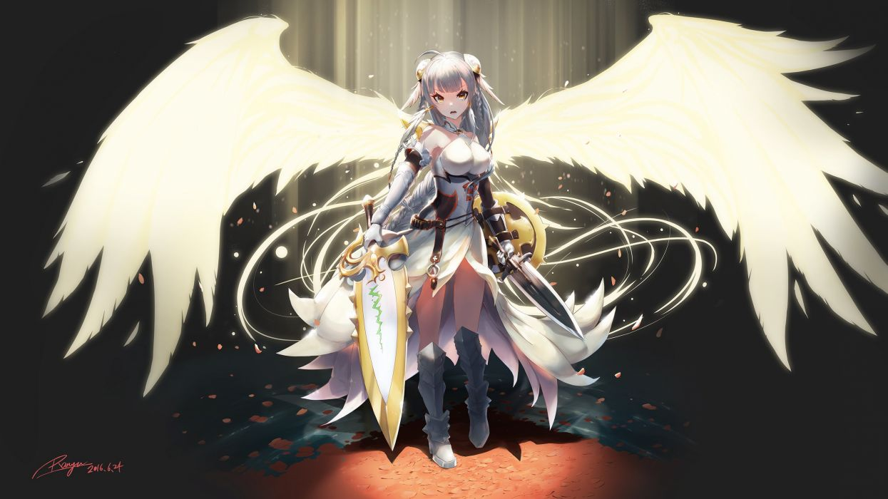 armor boots braids breasts elbow gloves gloves gray hair orange eyes petals puzzle & dragons ranyu kuro signed sword valkyrie (p&d) weapon wings wallpaper