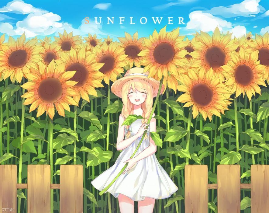 blonde hair blush braids dress flowers hat original ottmi summer dress sunflower twintails watermark wallpaper