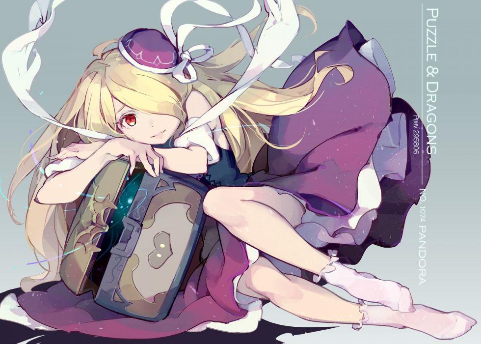 blonde hair dress hat long hair pandora (p&d) puzzle & dragons red eyes socks tennohi wallpaper