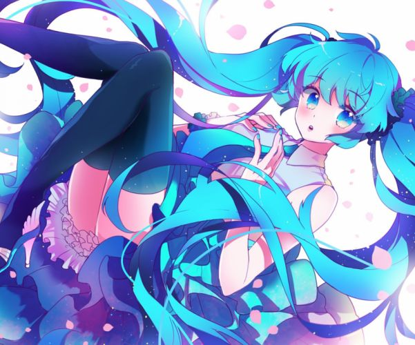 blue eyes blue hair blush hatsune miku long hair ottmi thighhighs tie twintails vocaloid wallpaper
