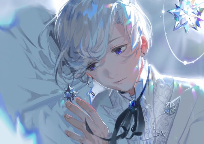 blue eyes close original rrr (627470487) short hair tie white hair wallpaper